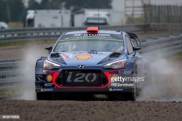 Spanish Dani Sordo and his codriver Marc Marti steer their Hyundai i20 Coupe WRC during the super special stage of the Orlen Rally Poland at the...