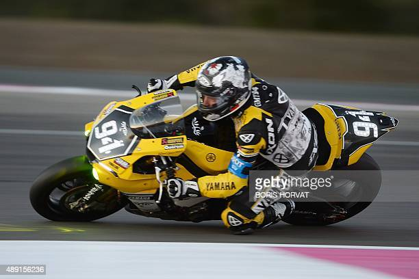 Spanish David Checca Carrera on Yamaha competes during the 79th Bol d'Or 24hour motorbike race on September 19 at the Paul Ricard racetrack in Le...
