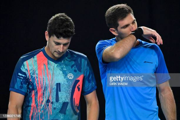 Spanish David Vega Hernandez and Argentina's Federico Delbonis pictured in action during a doubles men game between Ukrainian Molchanov and Kazach...