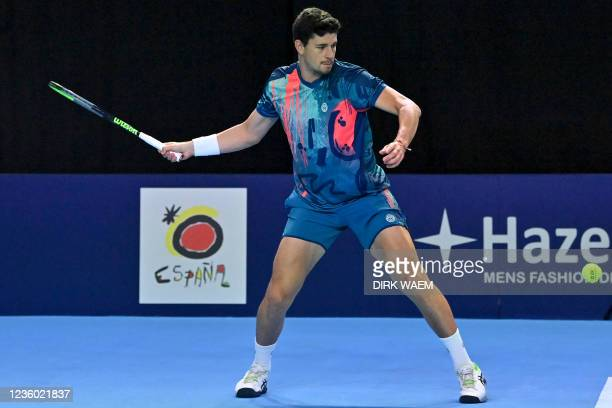 Spanish David Vega Hernandez pictured in action during a doubles men game between Ukrainian Molchanov and Kazach Nedovyesov and Argentinian Delbonis...