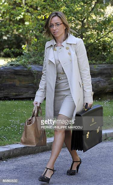 Spanish Defence Minister Carme Chacon arrives at the Moncloa Palace for a cabinet meeting on April 8 2009 in Madrid Prime Minister Jose Luis...