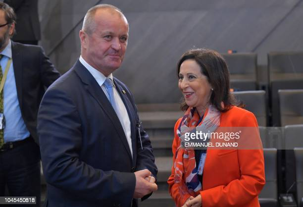 a4e8e3e04 Spanish Defence Minister Margarita Robles speaks with Slovak Republic Defence  Minister Peter Gajdos prior to attend