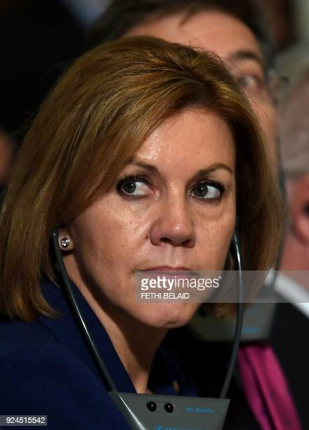 Spanish Defence Minister Maria Dolores de Cospedal attends a press conference on February 26 2018 in Tunis / AFP PHOTO / FETHI BELAID