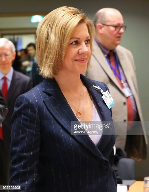 Spanish Defence Minister Maria Dolores de Cospedal Garcia attends EU Defense ministers meeting in Brussels Belgium on March 6 2018 EU Defense...