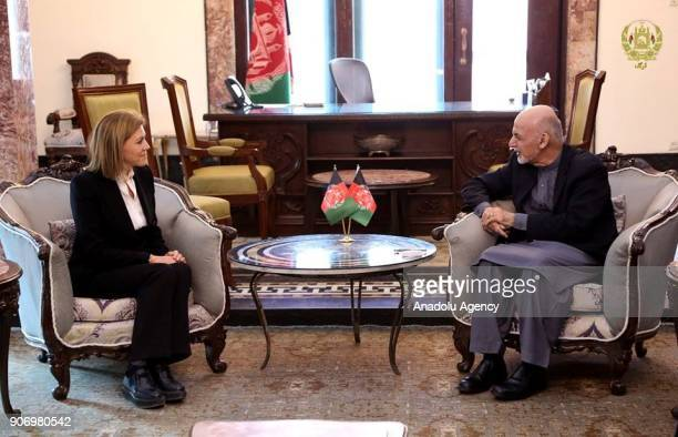 Spanish Defence Minister Maria Dolores de Cospedal Garcia meets with President of Afghanistan Ashraf Ghani in Kabul Afghanistan on January 19 2018