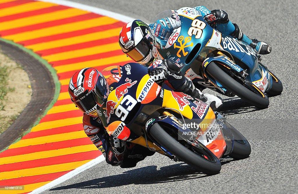 Spanish Derbi rider Marc Marquez rides during the Moto 125 cc race of the Italian Grand Prix in Mugello on June 6, 2010. Marc Marquez of Red Bull AJo Motorsport Team finished first ahead of Nico Terol of Bancaja Aspar Team and Pol Espargaro of Tuenti Racing Team of Spain.
