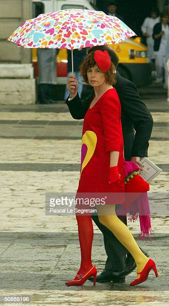 Spanish designer Agatha leaves after she attended the wedding ceremony between Spanish Crown Prince Felipe de Bourbon and former journalist Letizia...