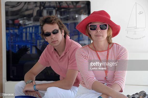 Spanish designer Agatha Ruiz de la Prada and her son Tristan Ramirez Iglesias during the 26th Copa del Rey Sailing Trophy on August 03 2007 in...