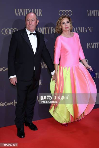 Spanish designer Agatha Ruiz de la Prada and Luis Miguel Rodriguez attend the Vanity Fair awards 2019 at the Royal Theater on November 25 2019 in...