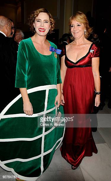 Spanish designer Agatha Ruiz de la Prada and Madrid Regional President Esperanza Aguirre attend the ''El Mundo'' newspaper's 20th anniversary dinner...