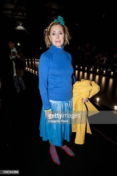 Spanish designer Agatha Ruiz de la Prada attends the Hannibal Laguna fashion show during the Cibeles Madrid Fashion Week A/W 2011 at Ifema on...