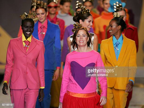 Spanish designer Agatha Ruiz de la Prada performs with her models during Autum/Winter 20052006 collection at Pasarela Cibeles Fashion week in Madrid...