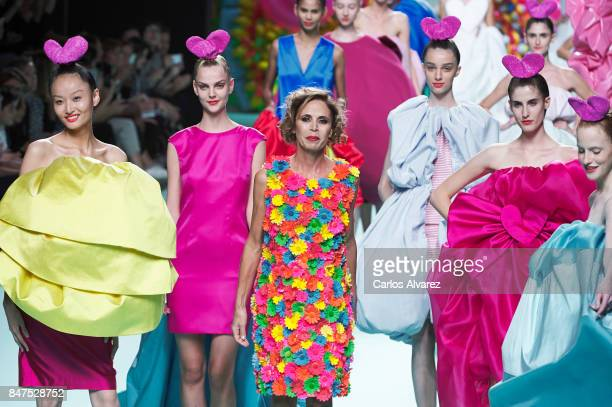 Spanish designer Agatha Ruiz De La Prada walks the runway at the Agatha Ruiz De La Prada show during the MercedesBenz Fashion Week Madrid...