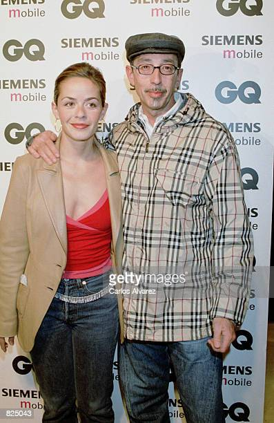 Spanish designer Antonio Alvarado and an unidentified friend attend the Spring/Summer 2001 GQ fashion show party May 7 2001 in Madrid Spain