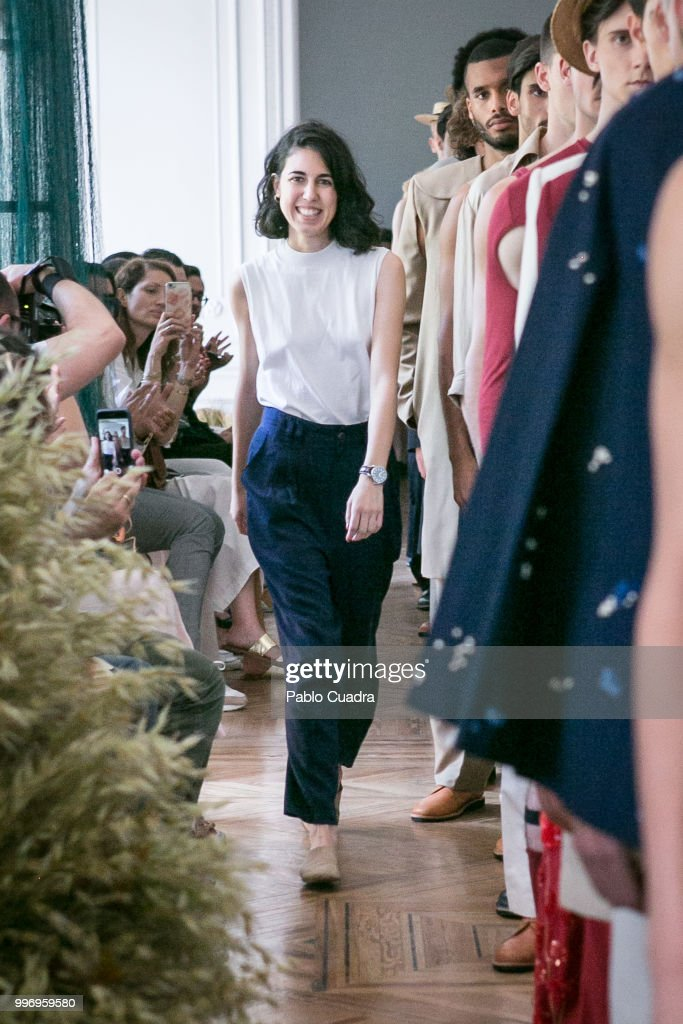 Spanish designer Carlota Barrera walks the runway after her show at Mercedes Benz Fashion Week Madrid Spring/ Summer 2019 on July 12, 2018 in Madrid, Spain.