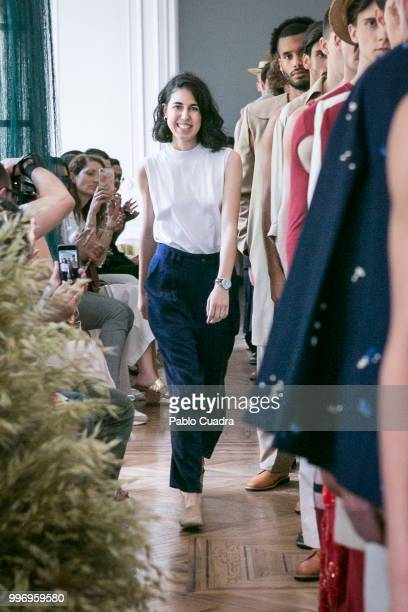 Spanish designer Carlota Barrera walks the runway after her show at Mercedes Benz Fashion Week Madrid Spring/ Summer 2019 on July 12 2018 in Madrid...