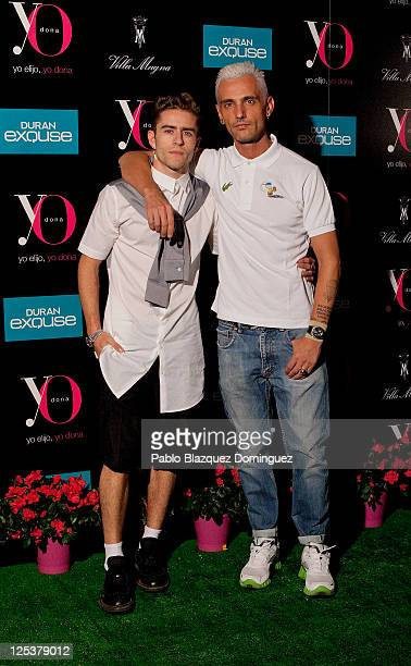 Spanish designer David Delfin and blogger Pelayo Diaz Zapico attend 'Yo Dona' Magazine's coctail party at Hotel Villamagna on September 16 2011 in...