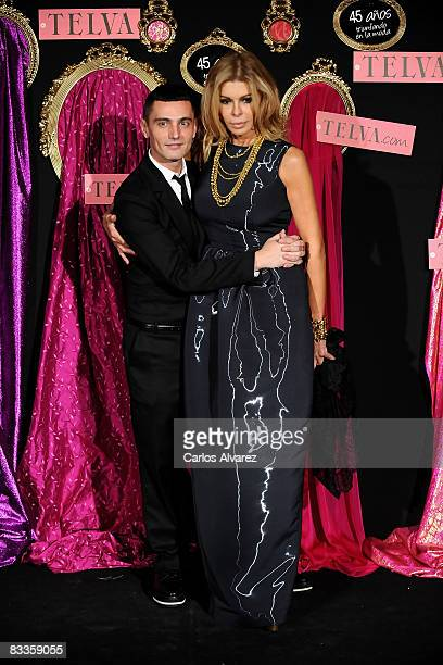 Spanish designer David Delfin and model and actress Bibi Andersen attend Telva Fashion Awards 2008 photocall at Palace Hotel on October 20 2008 in...