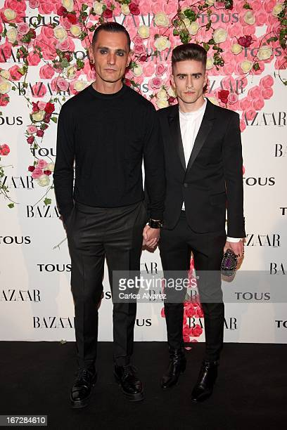 Spanish designer David Delfin and Pelayo Diaz Zapico attend the presentation of the new fragance 'Rosa' at the Ritz Hotel on April 23 2013 in Madrid...