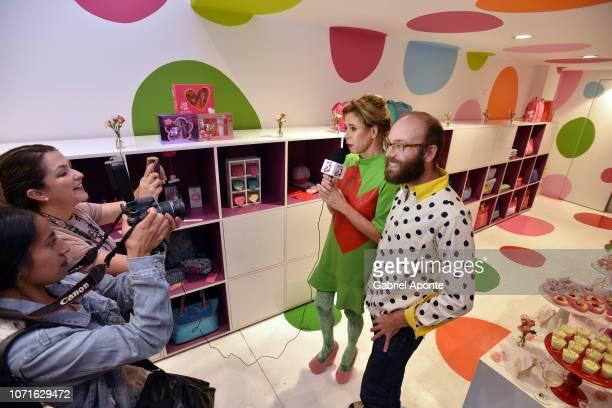 Spanish designer Ágatha Ruiz de la Prada gives an interview with her son Tristan Ramirez during the visit her shop at Unicentro Bogotá Shopping Mall...