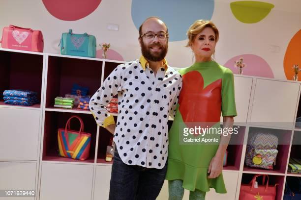 Spanish designer Ágatha Ruiz de la Prada pose to a photo with her son Tristan Ramirez during the visit her shop at Unicentro Bogotá Shopping Mall on...