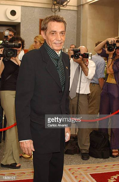 Spanish designer Jesus del Pozo attends the special concert for the 150th anniversary of the Royal Theatre in Madrid July 11, 2001 in Madrid, Spain.