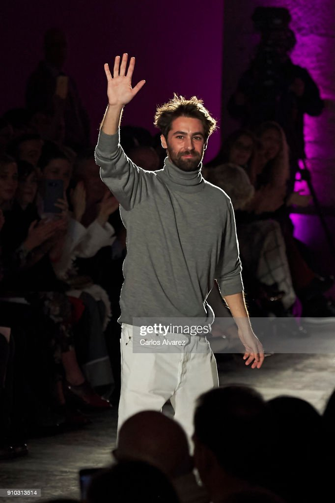 Spanish designer Juan Vidal walks the runway at the end of the Juan Vidal fashion show during the Mercedes Benz Fashion Week Autumn/Winter 2018 at the Casa de Correos on January 25, 2018 in Madrid, Spain.