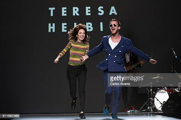 Spanish designer Teresa Helbig and singer Aldo Comas walk the runway at the Teresa Helbig show during the MercedesBenz Madrid Fashion Week...
