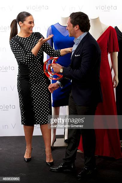 Spanish designer Vicky Martin Berrocal and Juan Pena attend to the New Collection of Clothes presentation for Violeta by Mango on March 11 2015 in...