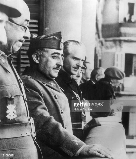 Spanish dictator General Francisco Franco with his brother inlaw and Foreign Minister Ramon Serrano Suner during a visit to Italy 7th June 1939 Photo...