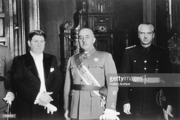 Spanish dictator General Francisco Franco with his brother inlaw and Foreign Minister Ramon Serrano Suner and a Costa Rican minister in Madrid circa...