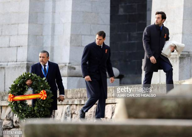 Spanish dictator's greatgrandson Prince Louis Alphonse of Bourbon Duke of Anjou arrives for the exhumation of the Spanish dictator at the Valle de...