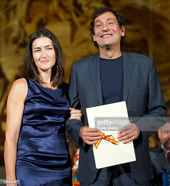 Spanish director Agusti Villaronga receives Cinematography Award 2011 from Spanish Culture Minister Angeles Gonzalez Sinde at San Telmo museum on...