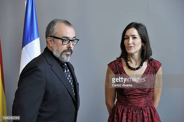 Spanish director Alex de la Iglesia receives Cinematography Award 2010 from Spanish Culture Minister Angeles Gonzalez Sinde at Victoria Eugenia...