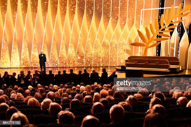 Spanish director and President of the Feature Film Jury Pedro Almodovar delivers a speech on stage on May 17, 2017 during the opening ceremony of the...