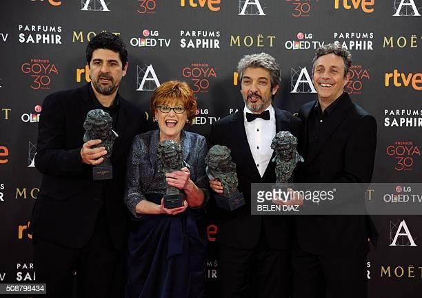 Spanish director Cesc Gay actress and producer Marta Esteban Argentinian actor Ricardo Darin and Spanish writer and actor Tomas Aragay pose during a...