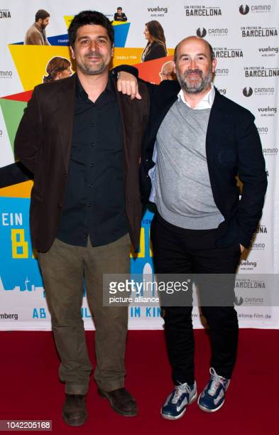 Spanish director Cesc Gay and Spanish actor Javier Camara attend the premier of their movie 'Una pistola en cada mano' at MetropolKino in...