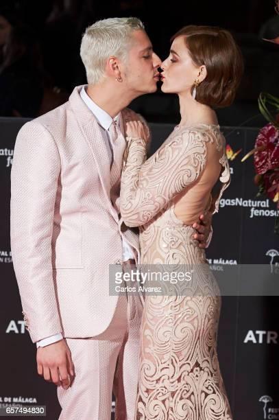Spanish director Eduardo Casanova and actress Ana Polvorosa attend the 'Pieles' premiere on day 8 of the 20th Malaga Film Festival at the Cervantes...
