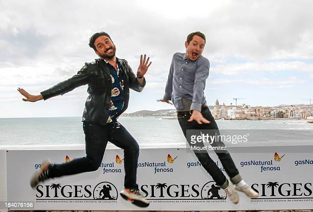 Spanish director Eugenio MIra and actor Elijah Wood attend a press presentation for their latest film 'Grand Piano' at the 46th Sitges Film Festival...