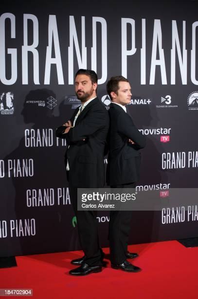 "Spanish director Eugenio Mira and actor Elijah Wood attend ""Grand Piano"" premiere at the Callao cinema on October 15, 2013 in Madrid, Spain."