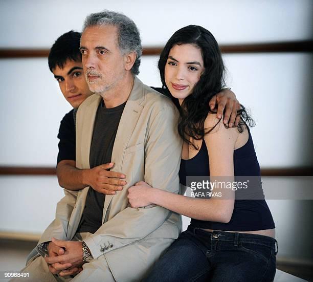 Spanish director Fernando Trueba poses with actors Abel Ayala and Miranda Bodenhofer after the screening of his film 'El Baile de la Victoria' during...