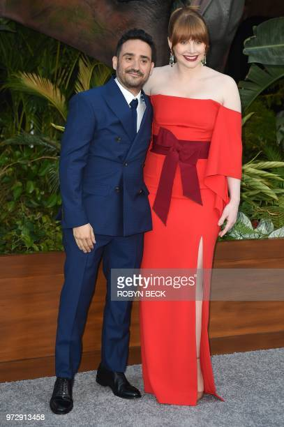 Spanish director JA Bayona and US actress Bryce Dallas Howard attend the premiere of Jurassic World Fallen Kingdom on June 12 2018 at The Walt Disney...