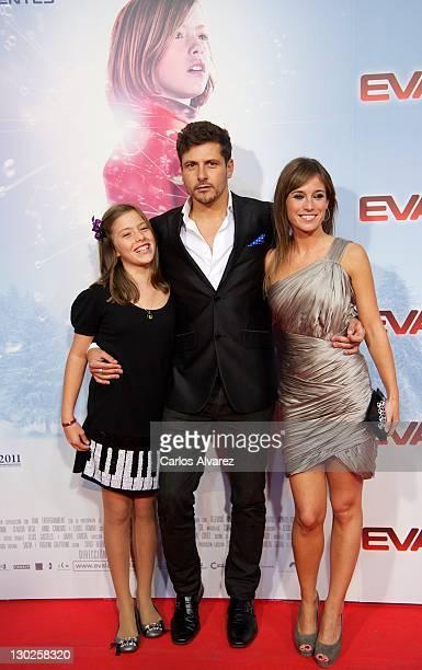 Spanish director Kike Maillo actresses Claudia Vega and Marta Etura attend Eva premiere at Capitol cinema on October 25 2011 in Madrid Spain