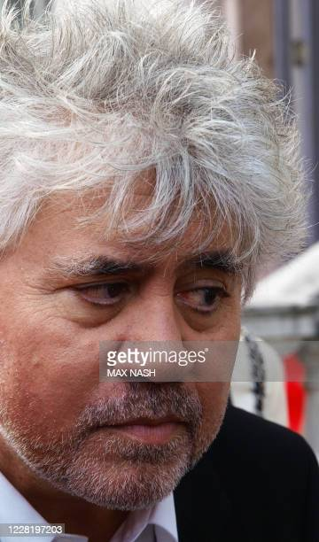 Spanish director Pedro Almodovar gestures as he arrives for the screening of his latest film 'The Skin I Live In' by Spanish director Pedro Almodovar...