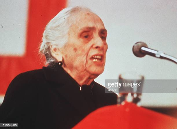 Spanish Dolores Ibarruri known as la Pasionaria delivers a speech during a campaign meeting of general election June 1986 She became a member of the...