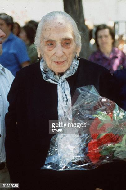 Spanish Dolores Ibarruri known as la Pasionaria during a campaign meeting of general election 10 June 1986 She became a member of the Central...