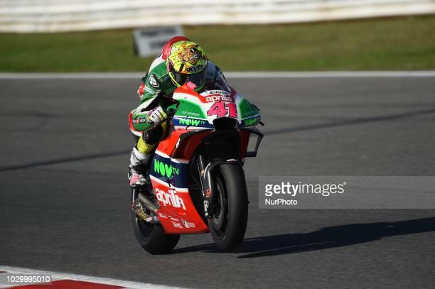 41 Spanish driver Aleix Espargaro of Team Aprilia Racing Team Gresini driving during warm up in Misano World Circuit Marco Simoncelli in Misano...