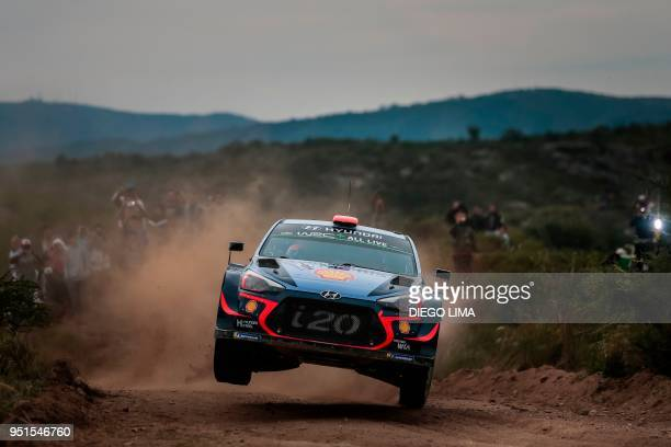 Spanish driver Daniel Sordo steers his Hyundai i20 Coupe WRC with his compatriot codriver Carlos Del Barrio during the shakedown of the WRC Argentina...
