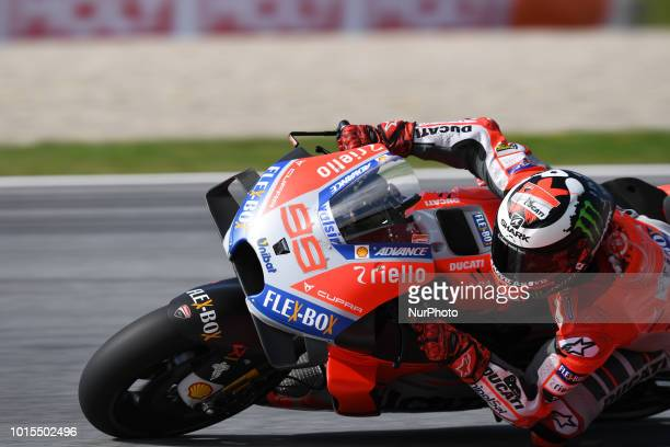 99 Spanish driver Jorge Lorenzo of Team Ducati Racing race during warm up of Austrian MotoGP grand prix in Red Bull Ring in Spielberg on August 12...