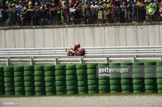 93 Spanish driver Marc Marquez of Team Repsol Honda Team driving during the race in Misano World Circuit Marco Simoncelli in Misano Adriatico for San...